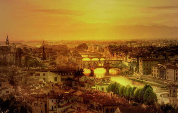 Tuscany Photograph - Florence At Sunset by Photo Art By Mandy