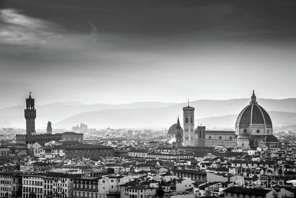 Wall Art - Photograph - Florence Black And White by Delphimages Photo Creations