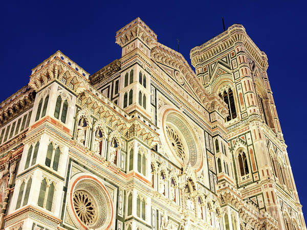 Photograph - Florence Cathedral Facade At Night In Firenze by John Rizzuto