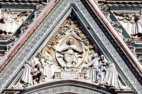 Photograph - Florence Cathedral Facade Details by John Rizzuto