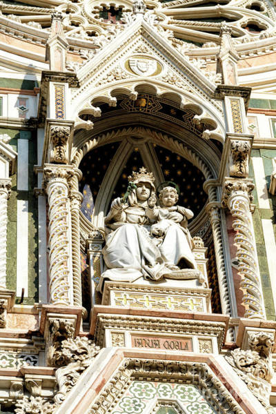 Photograph - Florence Cathedral Facade The Virgin Mary And Child by John Rizzuto