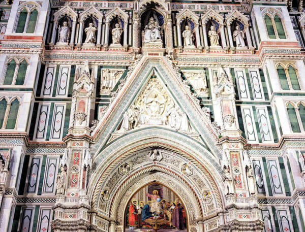 Photograph - Florence Cathedral Main Portal At Night by John Rizzuto