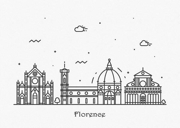 Landmark Center Drawing - Florence Cityscape Travel Poster by Inspirowl Design