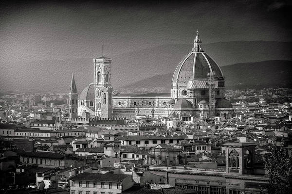 Wall Art - Photograph - Florence Duomo Italy Black And White  by Carol Japp