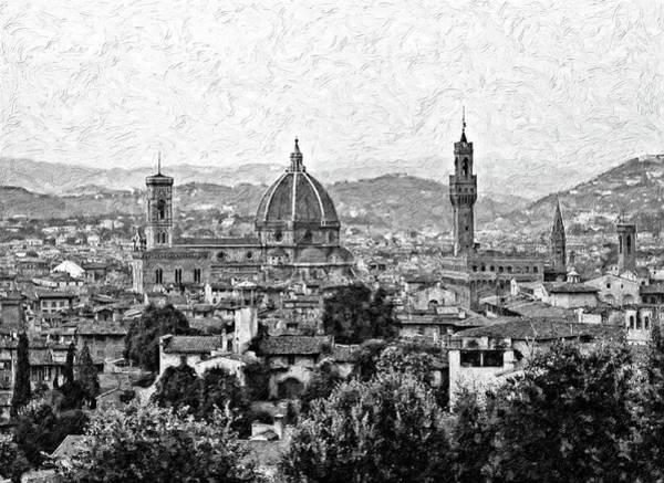 Florence Impasto Bw Art Print