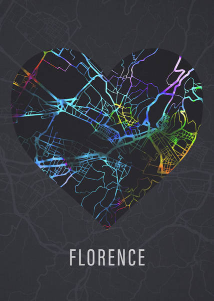 Wall Art - Mixed Media - Florence Italy City Heart Street Map Love Dark Mode by Design Turnpike