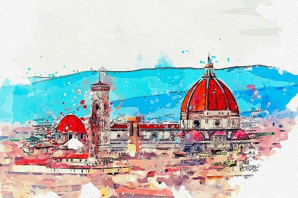 Painting - Florence Italy City Urban Skyline Buildings, By Adam Asar, Watercolor C2019 by Adam Asar