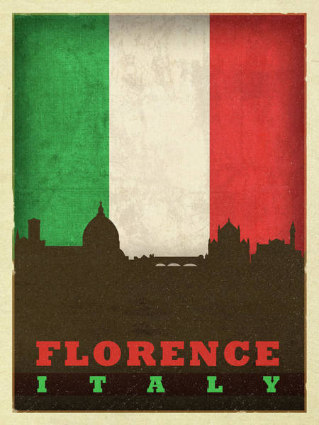 Wall Art - Mixed Media - Florence Italy World City Flag Skyline by Design Turnpike