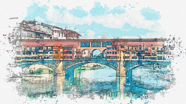 Painting - Florence Or Firenze, A View Of The Arno River And The Ponte Vecchio Bridge, Watercolor By Adam Asar by Adam Asar