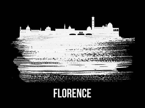Wall Art - Mixed Media - Florence Skyline Brush Stroke White by Naxart Studio