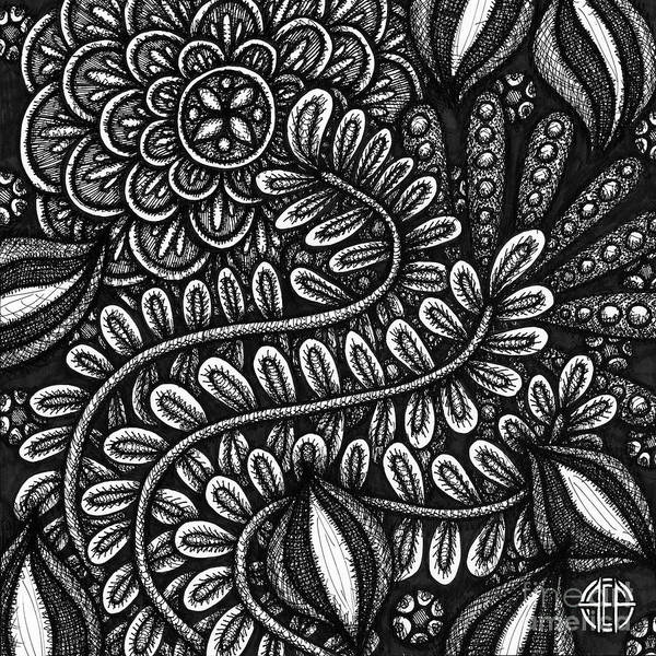 Drawing - Floriated Ink 12 by Amy E Fraser