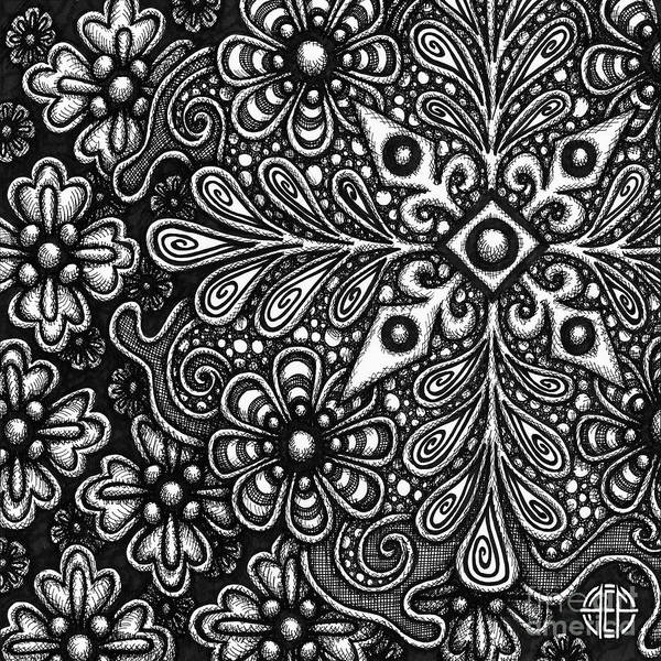 Drawing - Floriated Ink 13 by Amy E Fraser