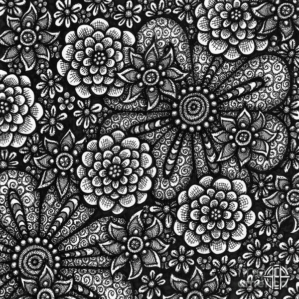 Drawing - Floriated Ink 6 by Amy E Fraser