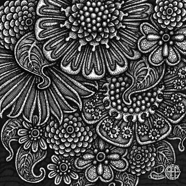Drawing - Floriated Ink 8 by Amy E Fraser