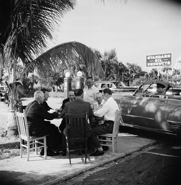 Palm Beach Photograph - Florida Card Game by Slim Aarons