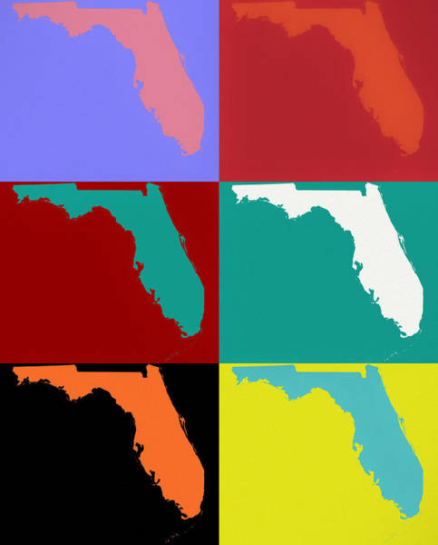 Wall Art - Mixed Media - Florida Pop Art Map by Dan Sproul