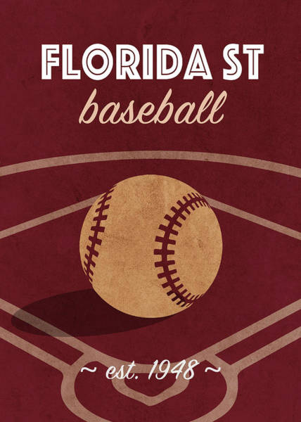 Wall Art - Mixed Media - Florida State Baseball College Sports Team Retro Vintage Poster Series by Design Turnpike