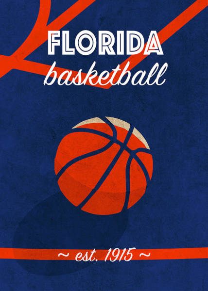 Wall Art - Mixed Media - Florida University Retro College Basketball Team Poster by Design Turnpike