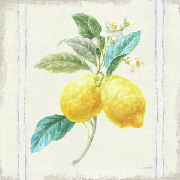 Farmhouse Kitchen Painting - Floursack Lemons IIi Sq Navy by Danhui Nai