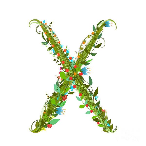 Write Wall Art - Digital Art - Flower Abc Sign X. Floral Summer by Popmarleo