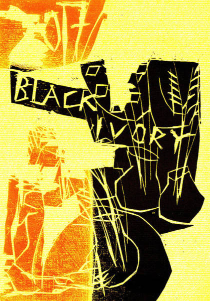 Digital Art - Flower Arranger Black Ivory Woodcut Poster 2 by Artist Dot