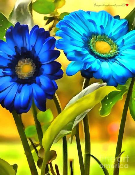 Painting - Flower Blue Daisy In Acrylic by Catherine Lott