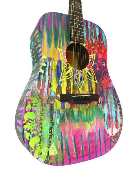 Wall Art - Sculpture - Flower Fire Guitar by Dean Russo Art
