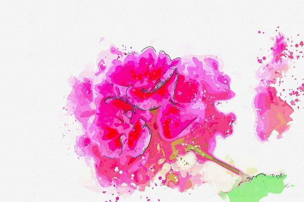 Painting - Flower Green Plant Nature Background Macro Close -  Watercolor By Adam Asar by Adam Asar