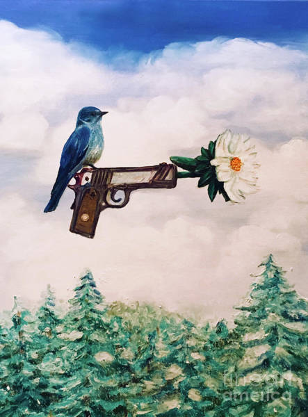 Flower In A Gun- Bluebird Of Happiness Art Print