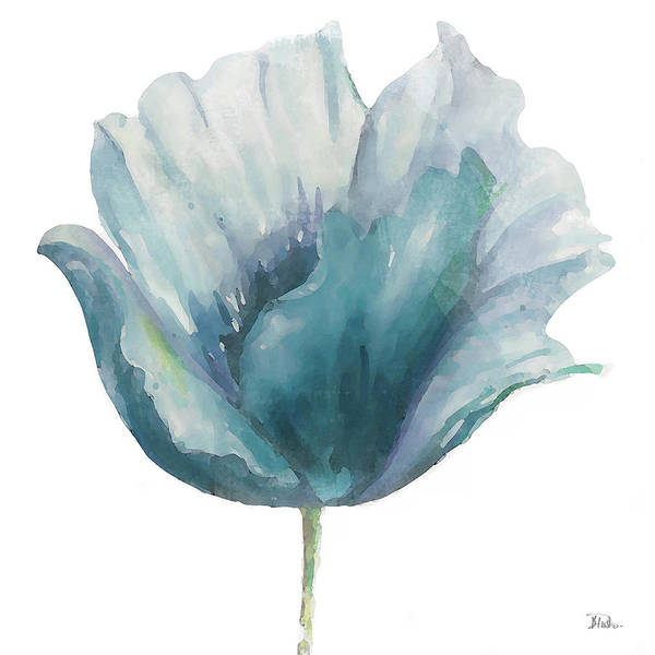Wall Art - Painting - Flower In Blue I (on White) by Patricia Pinto