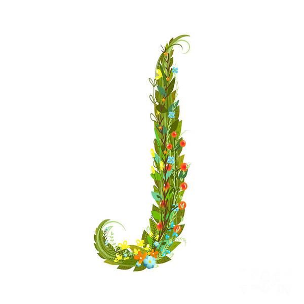 Write Wall Art - Digital Art - Flower Intricate Abc Sign J. Floral by Popmarleo