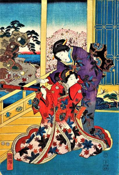 Kimono Painting - Flower Of Akashi - Digital Remastered Edition by Utagawa Kuniteru