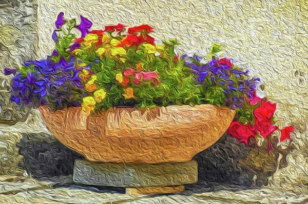 Wall Art - Digital Art - Flower Pot Impression by Dimitris Sivyllis