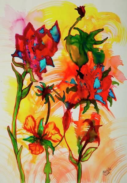 Multi Media Painting - Flower Series, 2000 Mixed Media On Paper by Segundo Huertas