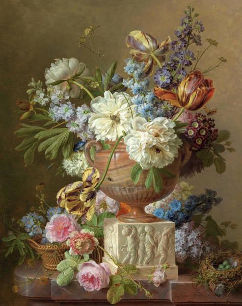 Tulip Bloom Painting - Flower Still-life With An Alabaster Vase, 1783 by Gerard van Spaendonck