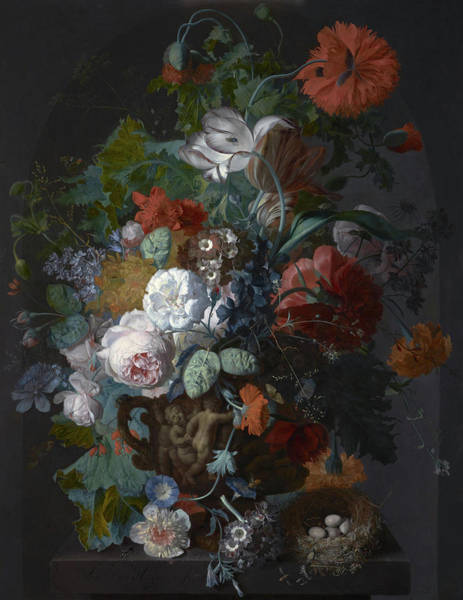 Wall Art - Painting - Flower Still Life With Bird's Nest, 1718 by Jan van Huysum