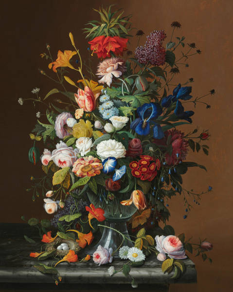 Wall Art - Painting - Flower Still Life With Birds Nest by Severin Roesen