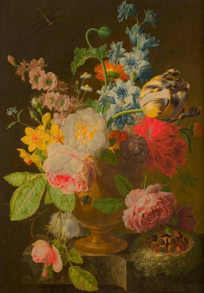 Painting - Flower Still Life With Nest Of Young Birds by Peter Faes