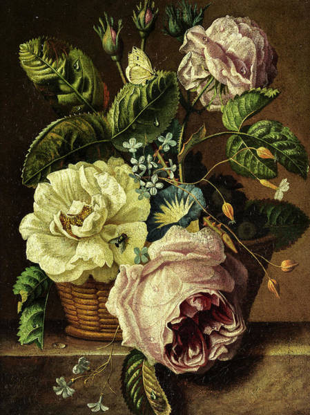 Wall Art - Painting - Flower Still Life With Roses by Jan van Huysum