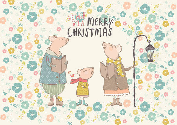 Mammal Mixed Media - Flower Up Christmas Mice II by Amanda Lakey