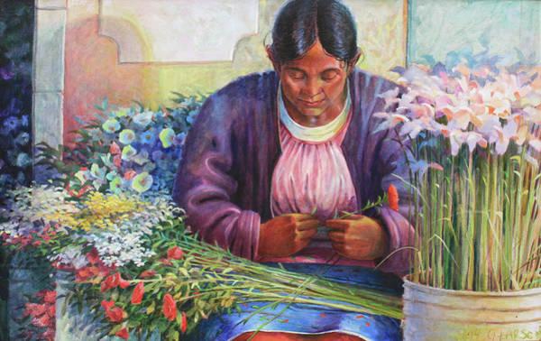 Wall Art - Painting - Flower Vendor Of Guanajuato by Gary Larson