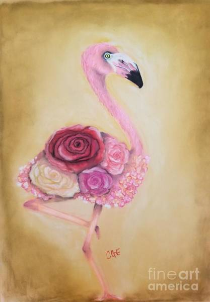Wall Art - Pastel - Flowered Flamingo by Crystal Elswick