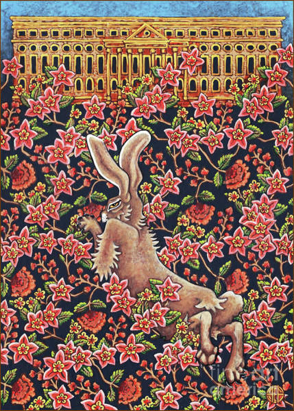 Painting - Flowered Hare 4 by Amy E Fraser