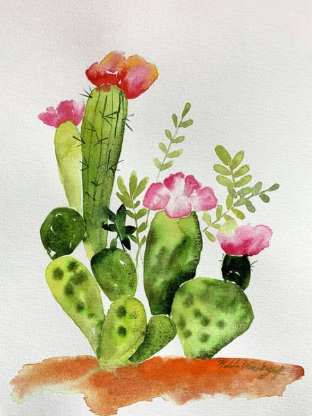 Painting - Flowering Cactus by Hilda Vandergriff