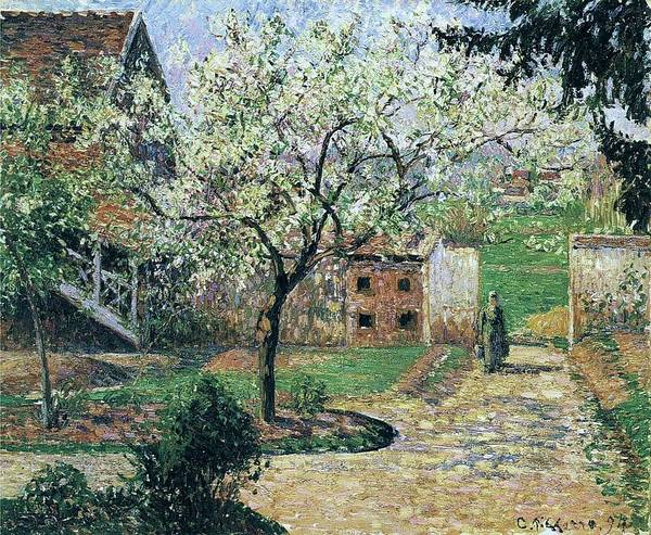 Wall Art - Painting - Flowering Plum Tree, Eragny, 1894 by Camille Pissarro