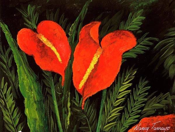 21st Painting - Flowers 8, 2006 Acrylic On Canvas by Nancy Tamayo