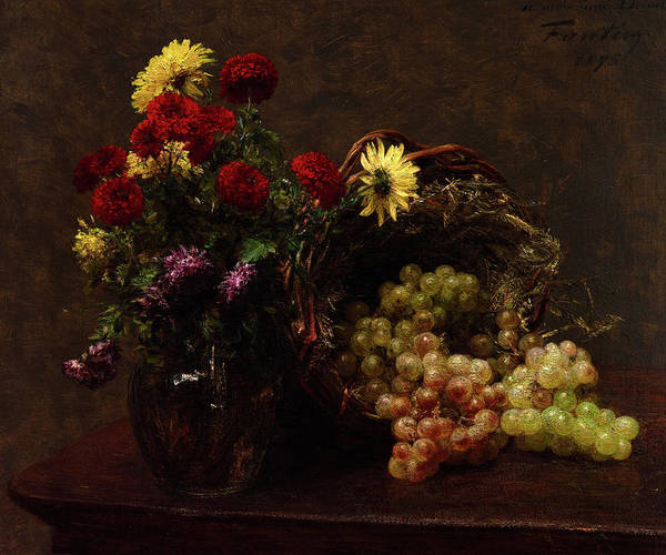 Yellow Ribbon Painting - Flowers And Grapes by Henri Fantin-Latour