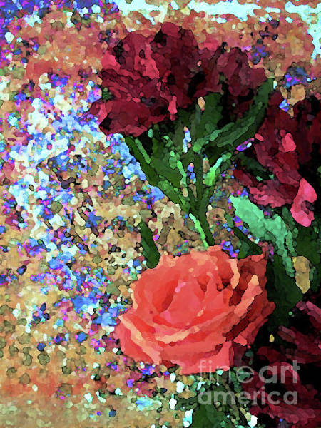 Mixed Media - Flowers And Heart 1001 by Corinne Carroll