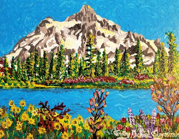 Wall Art - Painting - Flowers And Mountains  by Timothy Foley