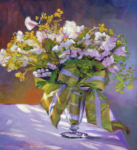 Painting - Flowers And Ribbons Still Life by David Lloyd Glover